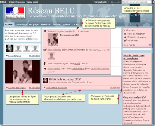 Un exemple de page d'accueil : Réseau BELC